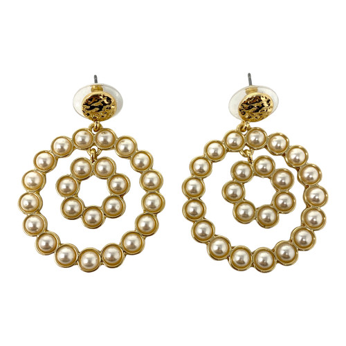 Concentric Pearls Drop Earrings- Front