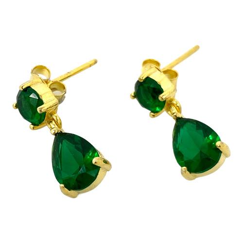 Shashi Emerald Drop Earrings- Thumbnail