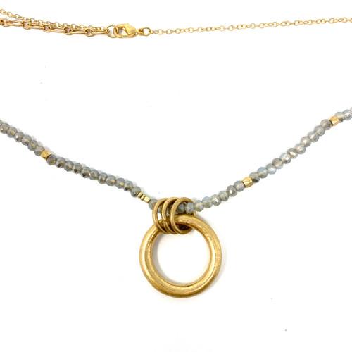 Shashi Beaded Circle Pendant Necklace- Thumbnail
