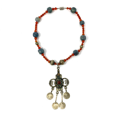Beaded Necklace with Flower Cross Pendant- Front