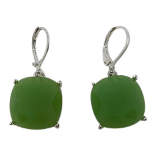 Joan Rivers Faceted Square Drop Earrings- Green Front