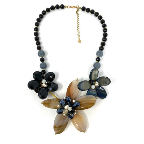 Yellow Polished Gemstone Sculptural Flower Necklace- Thumbnail