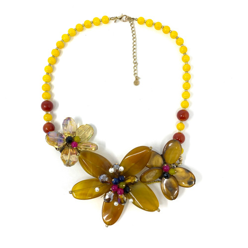 Yellow Polished Gemstone Sculptural Flower Necklace- Front