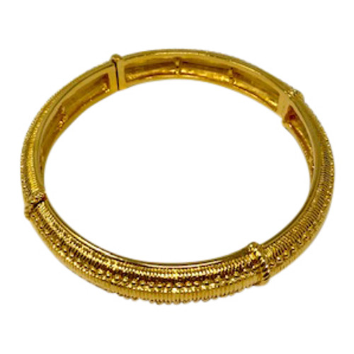 Joan Rivers Textured Gold Flexible Bangle- Front