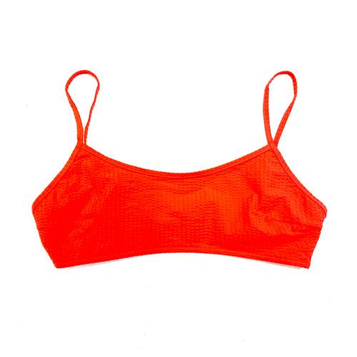 COS Red Seersucker Bikini Top- Front