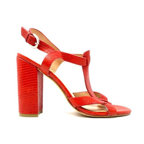 Sigerson Morrison Textured Block Heel Sandals- Right