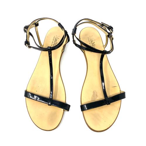 Max Mara Patent T-Strap Sandals- Top