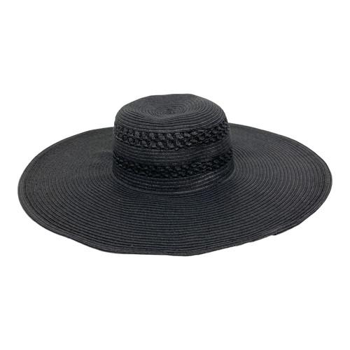 Hat Attack Black Floppy Beach Hat- Front