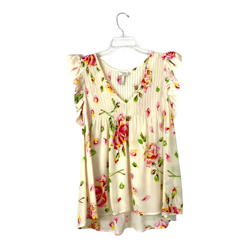 Joie Silk Pintucked Floral Top- Front
