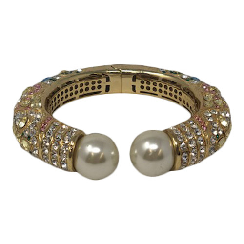 Joan Rivers Rhinestone Encrusted Open Cuff- Front