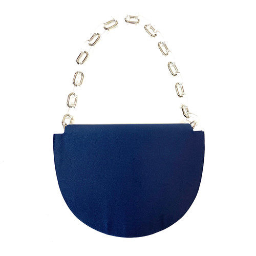 Nina Navy Satin Half Moon Bag- Front