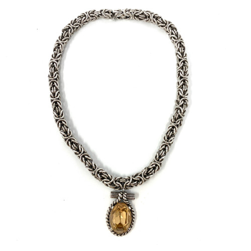 Ciner Silver Faceted Pendant Chain Necklace- Front