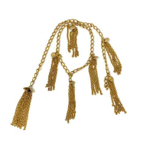 Medallions and Tassels Chain Link Wrap Choker- Front