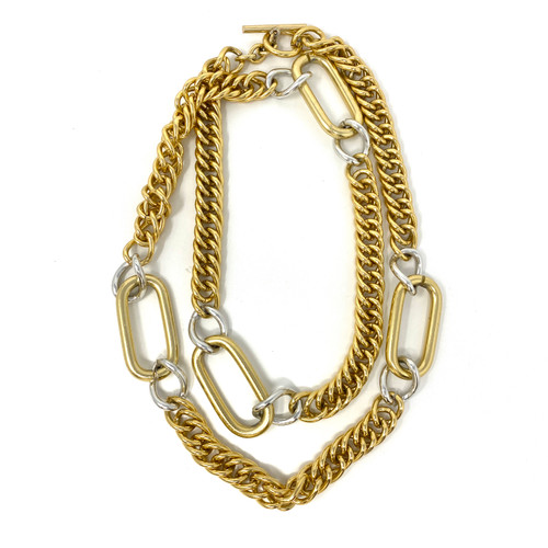 Oversized Two Tone Chain Link Necklace- Thumbnail