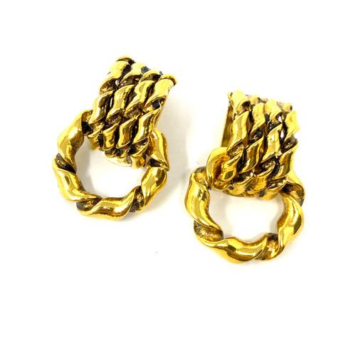 Twisted Chain Door Knocker Earrings- Thumbnail