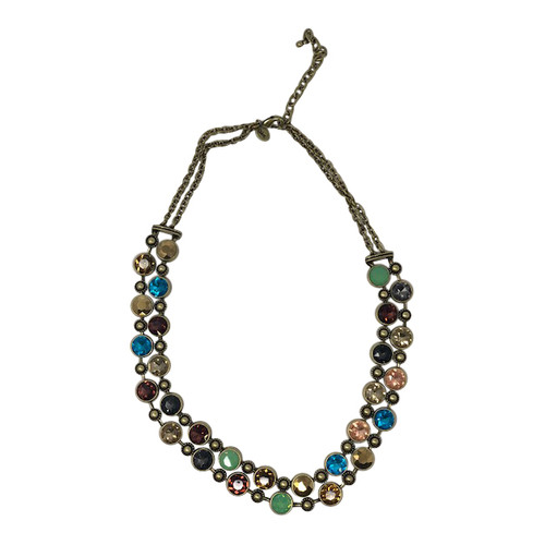 Joan Rivers Jewel Tone Stone Double Row Necklace- Front