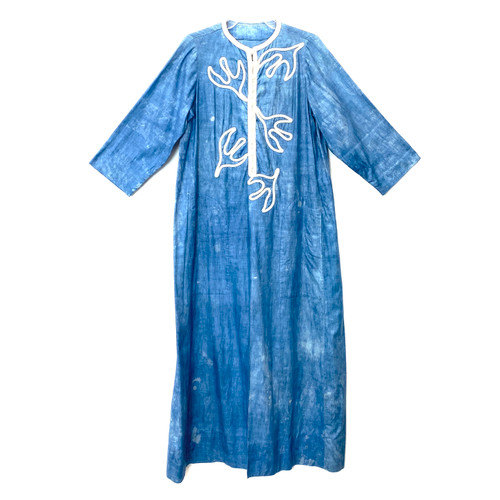 Indigo Dyed Embroidered Caftan- Front