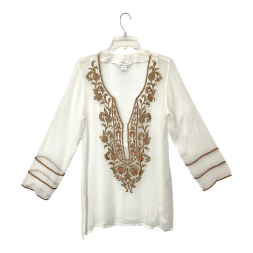 Ella Moss Sheer Embroidered Tunic- Front