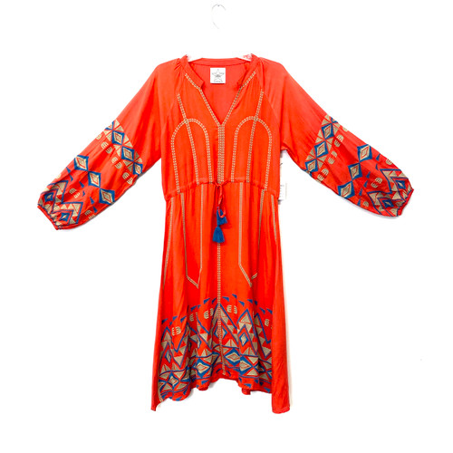 Area Stars Puff Sleeve Embroidered Caftan- Front