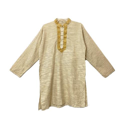 Textured Stripe Gold Kurta- Front
