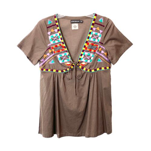 Antik Batik Embroidered A-Line Tunic- Front