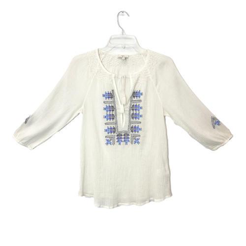 Joie Embroidered Peasant Blouse- Front