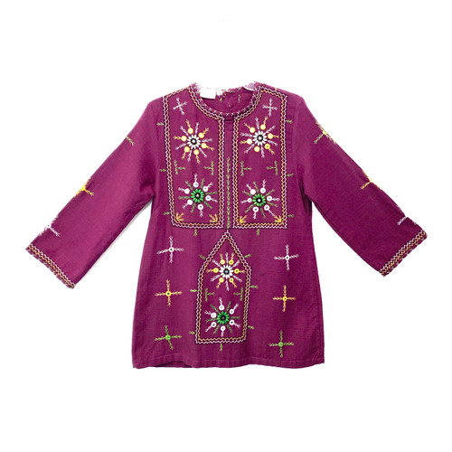Plum Perfect Embroidered Bell Sleeve Tunic- Front