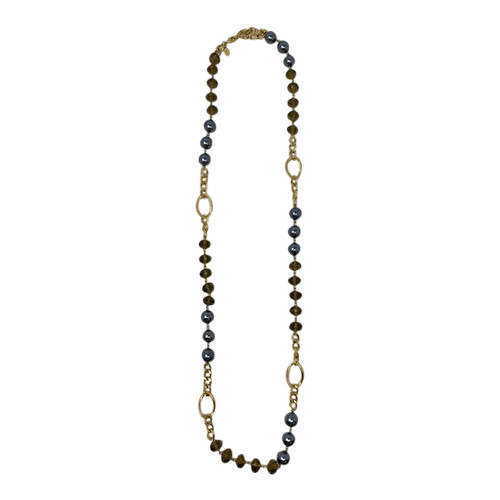 Joan Rivers Pearl and Chain Statement Necklace- Front