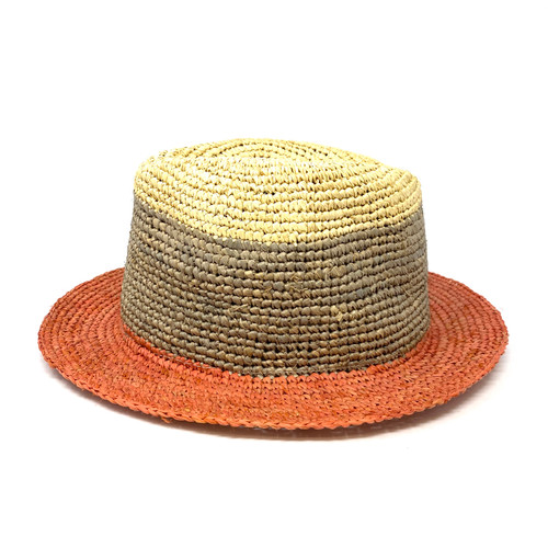 Hat Attack Tricolor Straw Bucket Hat- Front