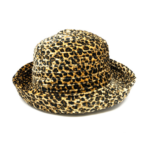 Animal Print Velour Bucket Hat- Front
