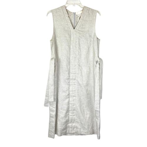 Kaelen Side Tie Linen Shift Dress - Thumbnail