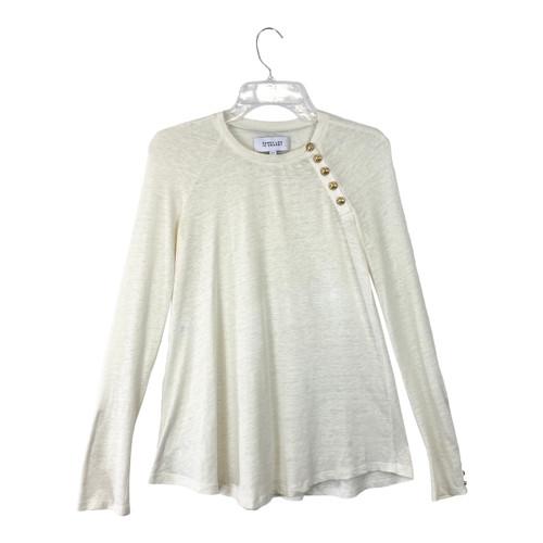 Derek Lam 10 Crosby Gold Button Linen T-Shirt - Thumbnail