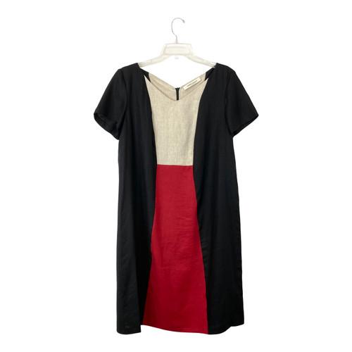 Marina Rinaldi Color Block Linen Shift Dress - Thumbnail