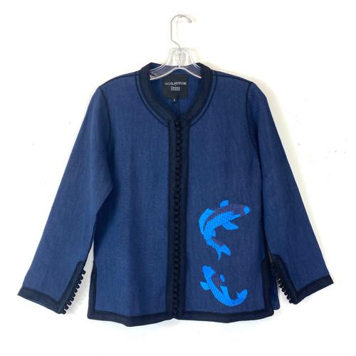 Shop Latitude x Deszo Embroidered Fish Linen Jacket - Thumbnail