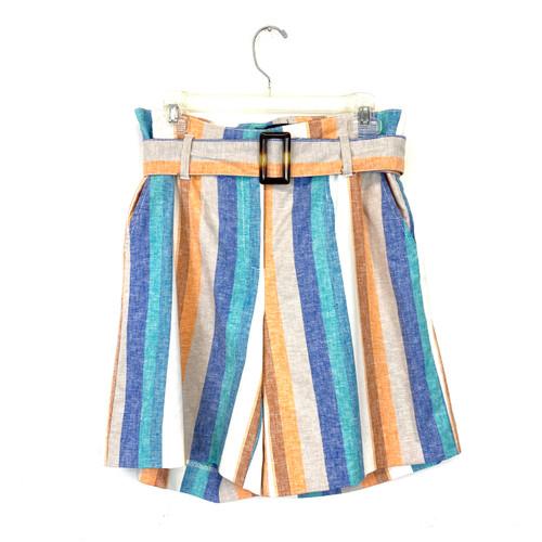 New York and Company Striped Paperbag Shorts - Thumbnail