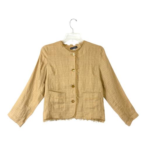 Pepito's Collarless Linen Jacket - Thumbnail