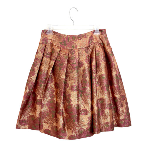 Tracy Reese Floral Brocade Pleated Skirt- Front