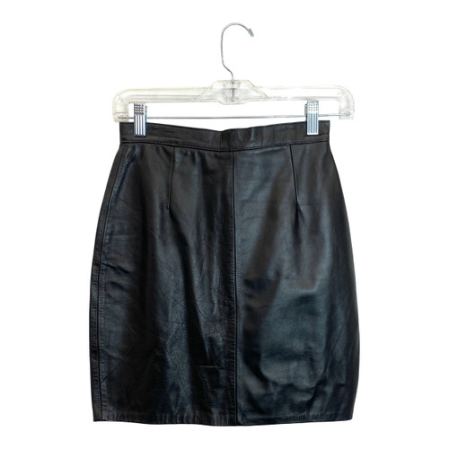 Vintage Leather Pencil Mini Skirt- Front