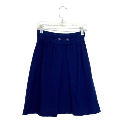 Vintage Navy Box Pleat Mini Skirt- Front
