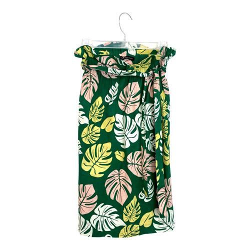 Hidden Forest Market Monstera Print Midi Skirt- Front
