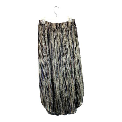 Ramy Brook Metallic Stripe Midi Skirt- Front