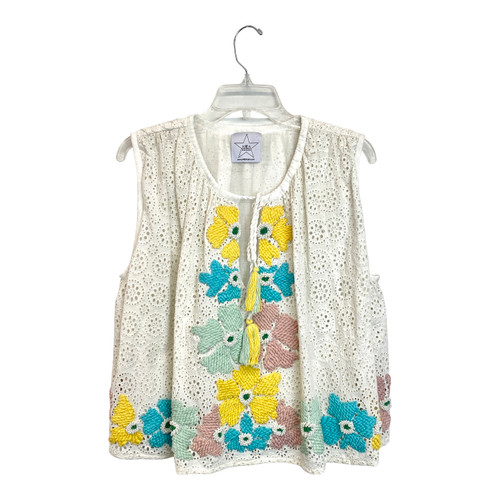 Area Stars Embroidered Eyelet Top - Thumbnail