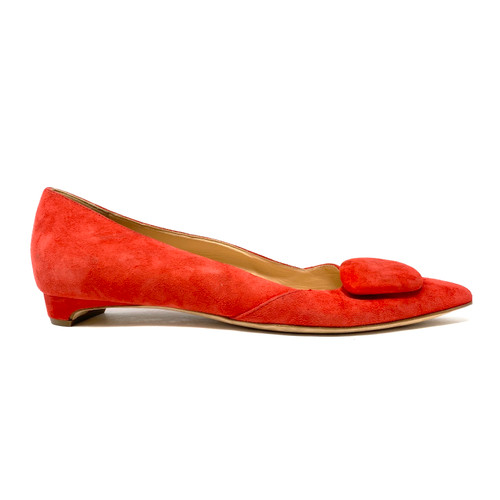 Rupert Sanderson Suede Pointed Toe Flats - Thumbnail