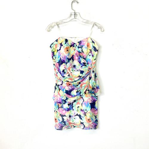Yumi Kim Floral Draped Strapless Mini Dress- Front