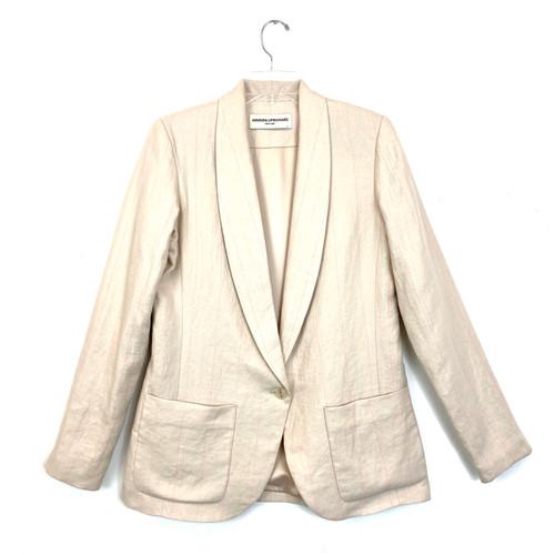 Amanda Uprichard Pink Pinstripe Linen Blazer- Front
