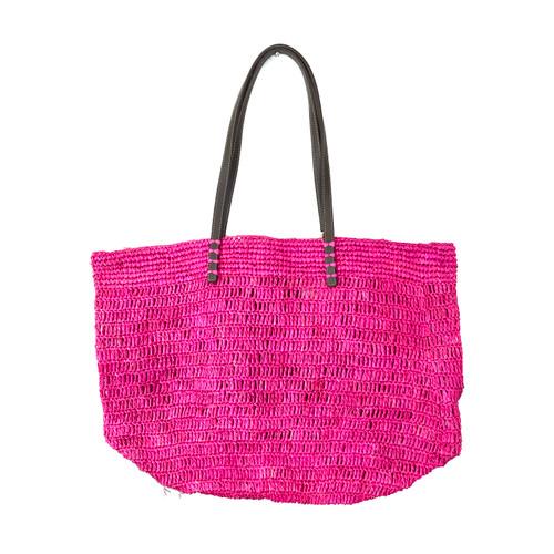 Raspberry Woven Oversized Shopper- Front