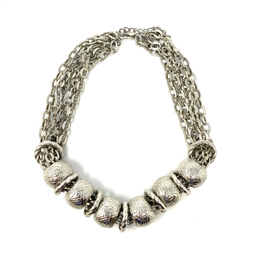 Silver Choker Chains Necklace- Front