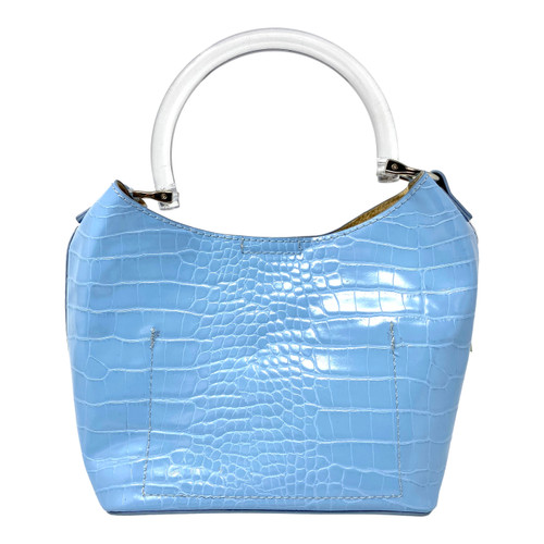 Linea Pelle for Barneys New York Baby Blue Croc Purse- Front