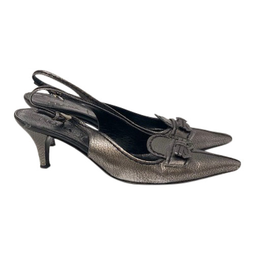Prada Metallic Pointed Toe Slingbacks-Right