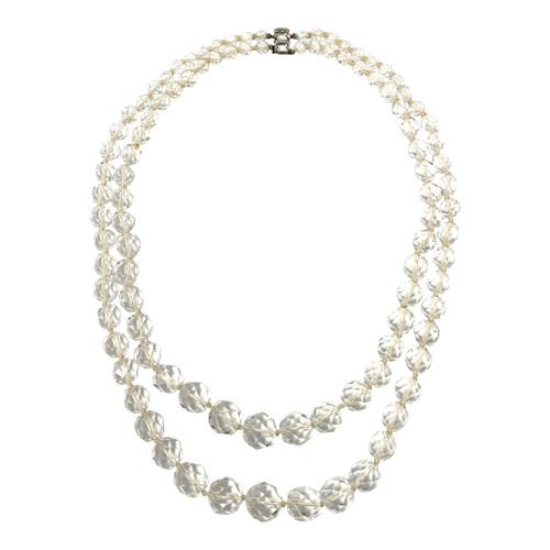 Vintage Cut Glass Double Strand Necklace- Thumbnail